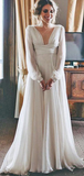 A-Line V-Neck Long Sleeves Chiffon Long Beach Wedding Dresses,VPWD312
