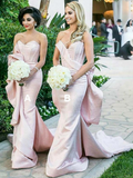 Mermaid Sweetheart Pink Cheap Long Bridesmaid Dresses,VPWG312