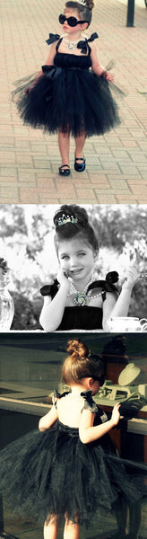Cool Black Tulle Little Girl Dresses, Affordable Flower Girl Dresses, Little Black Dress, FG044