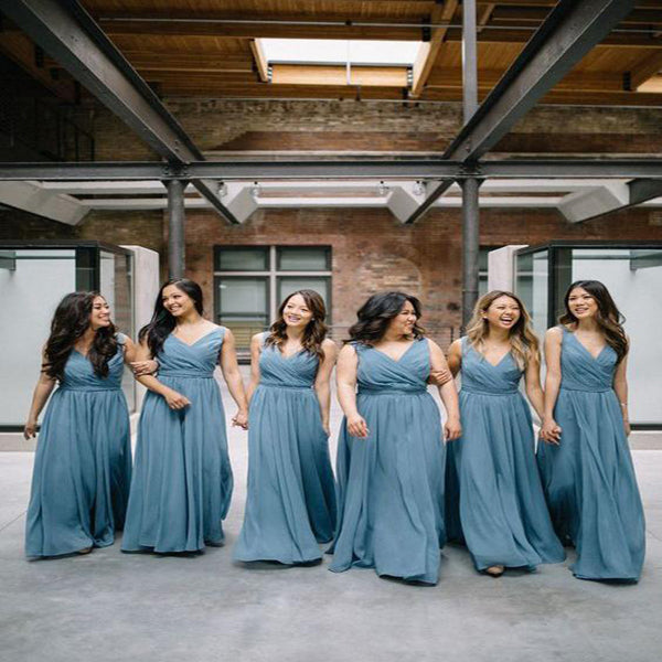 Elegant A-Line Dusty Blue Chiffon V-Neck Long Cheap Bridesmaid Dresses Online,VPWG032