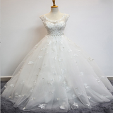 Brand-New Scoop Neckline Cap Sleeves Floor Length Wedding Dresses With Beading,Appliqued Long Wedding Dresses,VPWD032