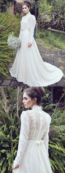 Elegant A-Line High Neck Long Sleeves Sweep Train Wedding Dresses With Lace,VPWD329