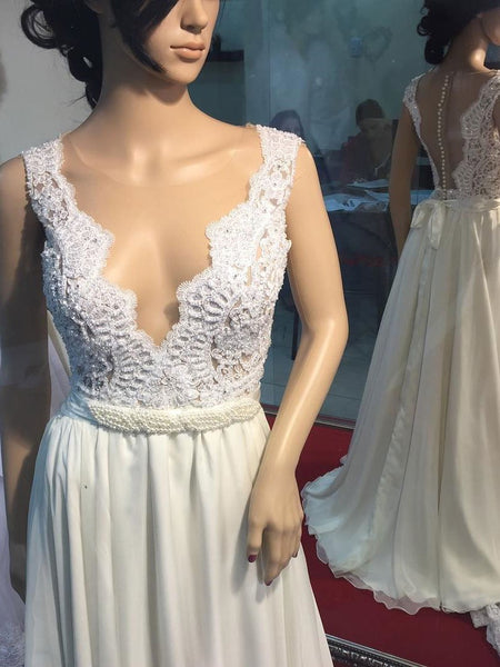 See Through V Neck Simple Beaded Cheap Beach Wedding Dresses,VPWD206