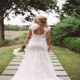 Open Back Lace Mermaid Long Wedding Bridal Dresses With Cap Sleeves,Modern graceful Wedding Dresses,VPWD033