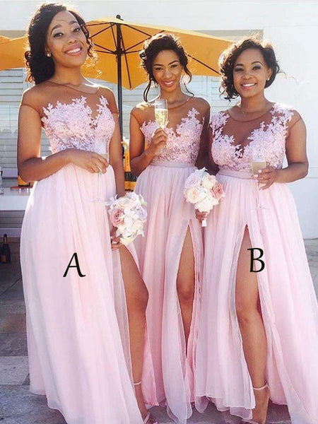 Prevalent  Pink Side Slit Cap Sleeve Custom Long Bridesmaid Dresses,VPWG007