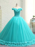 A-Line Off Shoulder Tulle Long Prom Dresses With Hand Made Flower,VPPD332