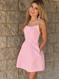 A-Line Spaghetti Straps Pink Homecoming Dresses With Pockets,VPBD335