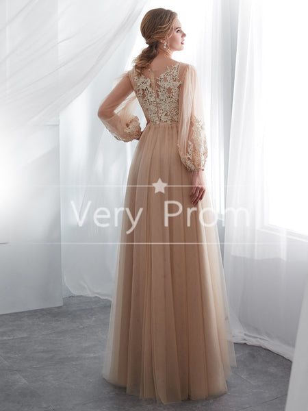 Prevail Two Pieces Prom Dresses With Appliques,Classy High Neck Long Prom Dresses,VPPD033