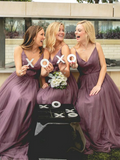 A-Line V-Neck Spaghetti Straps Tulle Long Bridesmaid Dresses,VPWG342