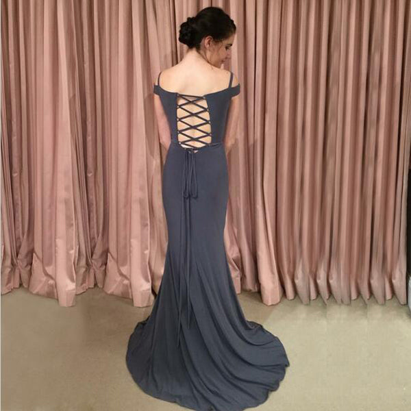 Sexy Mermaid Deep V-Neck Two Straps Grey Satin Prom Dresses,VPPD342