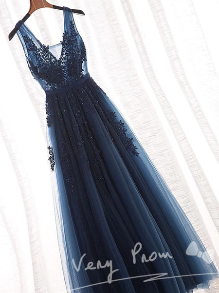 Navy Blue A-Line Floor-Length Tulle Prom Dresses With Appliques,Evening Dresses,VPPD011