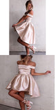 Dusty Pink Satin Off-the-shoulder Neckline Homecoming Dresses,Tea-Length Homecoming Dresses,VPBD035
