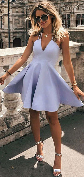 A-Line V-Neck Sleeveless Halter Cheap Short Homecoming Dresses,VPBD351
