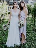2019 A-Line One Shoulder Pink Long Bridesmaid Dresses Online,VPWG351