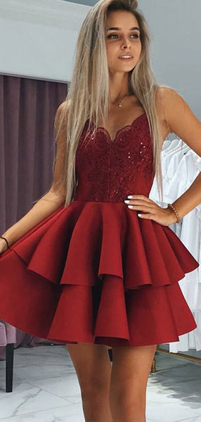 A-Line Sweetheart Spaghetti Straps Red Appliqued Homecoming Dresses With Beading,VPBD353