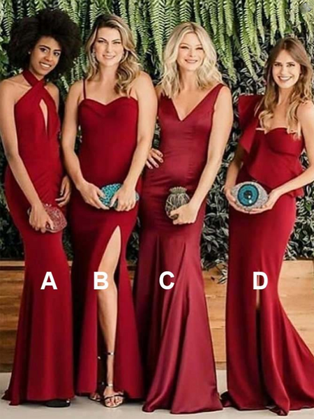 a6226f731a4 Sexy Mermaid Mismatched Red Satin Long Bridesmaid Dresses
