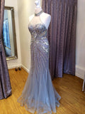 Fabulous Mermaid Halter Sleeveless Tulle Long Prom Dresses With Beading,VPPD359