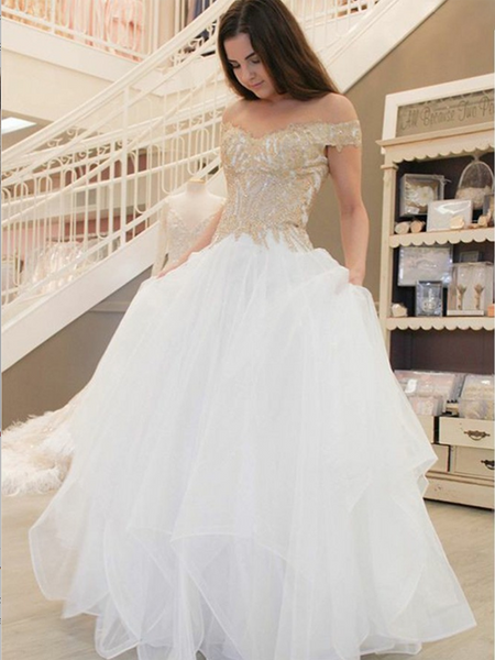 Fabulous A-Line Off Shoulder Tulle Floor Length Wedding Dresses With Appliques,Affordable Wedding Dresses,VPWD035