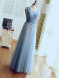 A-Line V-Neck Blue Tulle Sleeveless Beaded Long Prom Dresses,VPPD361