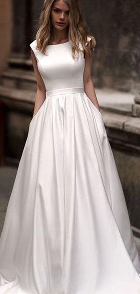 Simple A-Line Round Neck Cap Sleeveless Open Back Long Wedding Dresses,VPWD364