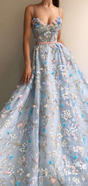 A-Line Spaghetti Straps Hand Made Flower Long Prom Dresses,VPPD365