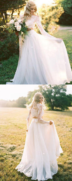 A-Line Round Neck Long Sleeves Two Pieces Chiffon Long Wedding Dresses With Lace,VPWD370
