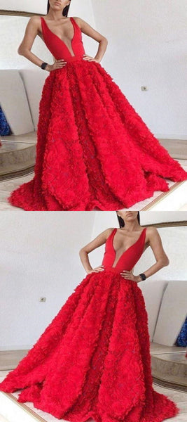 Sexy A-Line Two Straps Deep V-Neck Red Tulle Sleeveless Long Prom Dresses,VPPD371