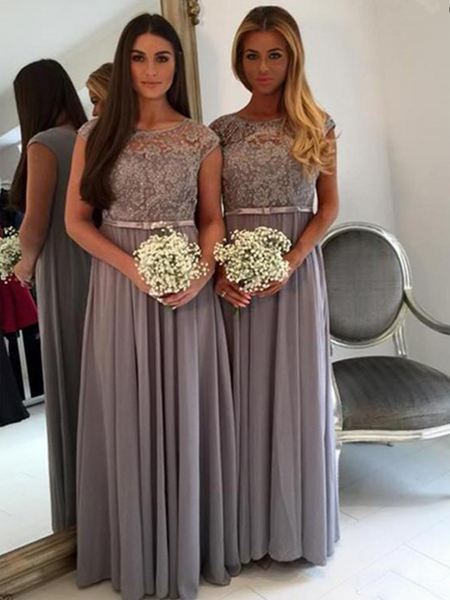 3a4fc7f63d8140 A-Line Scoop Neckline Cap Sleeves Chiffon Long Bridesmaid Dresses With  Lace,VPWG371