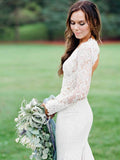 Sexy Mermaid Deep V-Neck Long Sleeves Chiffon Laced Long Wedding Dresses With Open Back,VPWD375