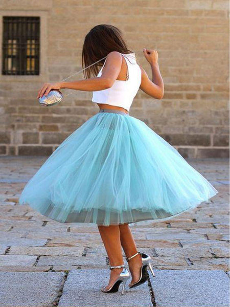 A-Line Two Pieces Sleeveless Knee Length Tulle Short Prom Dresses,VPPD377