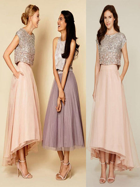 Brand-New Pretty Two Pieces Cap Sleeve Sequin Top Organza Long Bridesmaid Dresses Cheap Prom Dresses, VPWG047