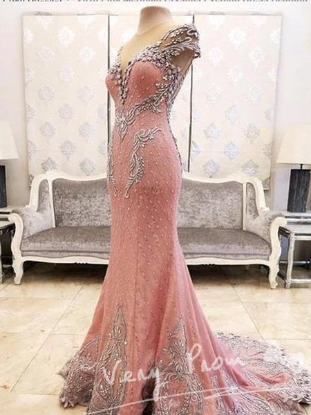 Alluring Mermaid Pink Tulle V-Neck Sleeveless Floor Length Prom Dresses With Beading,Sexy Open Back Prom Dresses,VPPD022