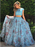A-Line Two Pieces Cap Sleeves Lace Tulle Long Prom Dresses,VPPD382