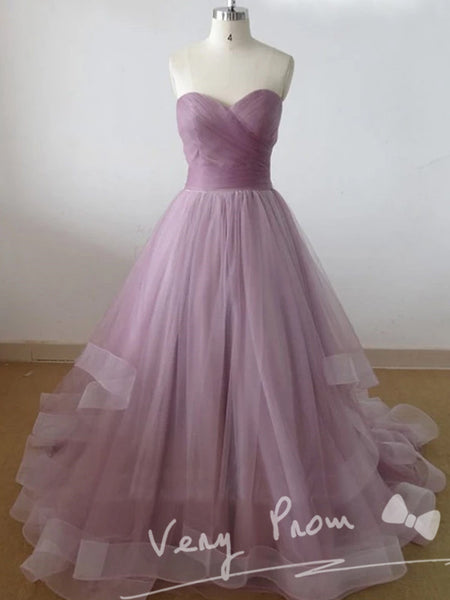 Elegant Lilac Tulle Sweetheart Long Prom Dresses,Strapless Floor Length Prom Dresses With Pleats,VPPD009