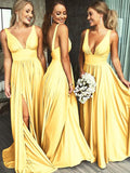 Sexy A-Line Deep V-Neck Yellow Sleeveless Long Bridesmaid Dresses,VPWG396