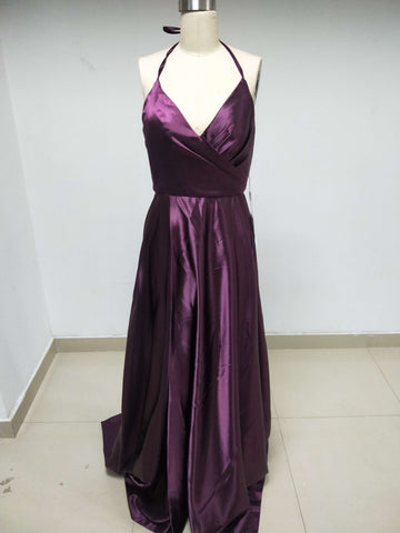 Cheap Discount Halter V-Neck Purple Satin Long Prom Dresses,VPDD005