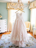 Alluring Champagne Wedding Dresses With Spaghetti Straps,Lace Sweetheart Wedding Dresses,Custom Wedding Dresses,VPWD134