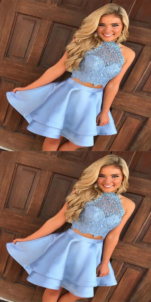 Beautiful A-line Halter Mini Satin Short Two Piece Sky Blue Homecoming Dresses,VPBD040