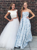 2019 Alluring Pure Tulle Off-the-shoulder Neckline 2 Pieces A-line Prom Dresses With Beading,VPPD040