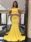 Mermaid Two Pieces Off Shoulder Yellow Satin Long Prom Dresses,VPPD411