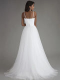 Simple A-Line Spaghetti Straps Tulle Cheap Long Wedding Dresses,VPWD413