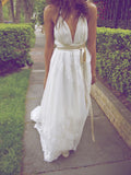 A-Line Deep V-Neck Backless Laced Long Wedding Dresses With Pearls,VPWD416