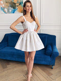 A-Line Two Straps Sweetheart Sleeveless Cheap Short Homecoming Dresses,VPBD426