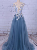 Illusion Sweep Train Tulle Appliqued Beaded Prom Dresses,A-Line Cheap Prom Dresses,VPPD042