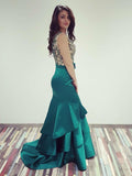 Sexy Mermaid Green Satin Sleeveless Beaded Prom Dresses,VPPD430