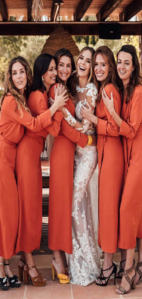 Charming V-Neck Long Sleeves Burnt Orange Chiffon Long Bridesmaid Dresses,VPWG433