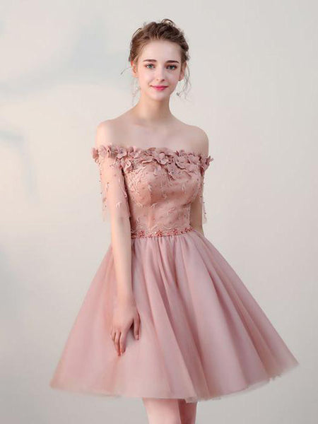 Excellent Dusty Pink Off Shoulder Short Homecoming Dresses With Lace Up Back,Tulle Cheap Homecoming Dresses,VPBD043