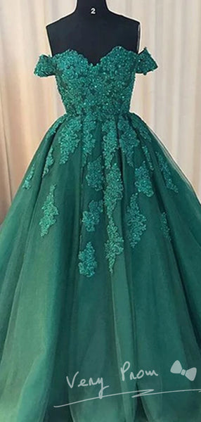 Fashionable Sexy Off Shoulder Emerald Green Lace A line Long Custom Evening Prom Dresses,VPPD026