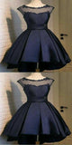 Attractive A-Line Black Short Homecoming Dresses With Scoop Neckline,Simple Cheap Homecoming Dresses Online,VPBD044