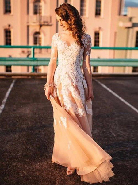 A-Line Sweetheart Long Sleeves Prom Dresses With Appliques,VPPD445